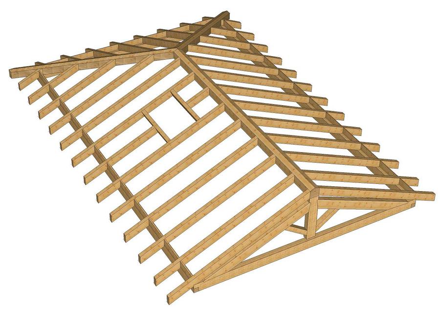 Ingenier a montajes pirenaica for Tejados de madera a cuatro aguas
